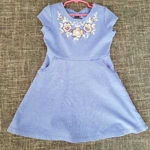 Periwinkle dress with floral sequin detail